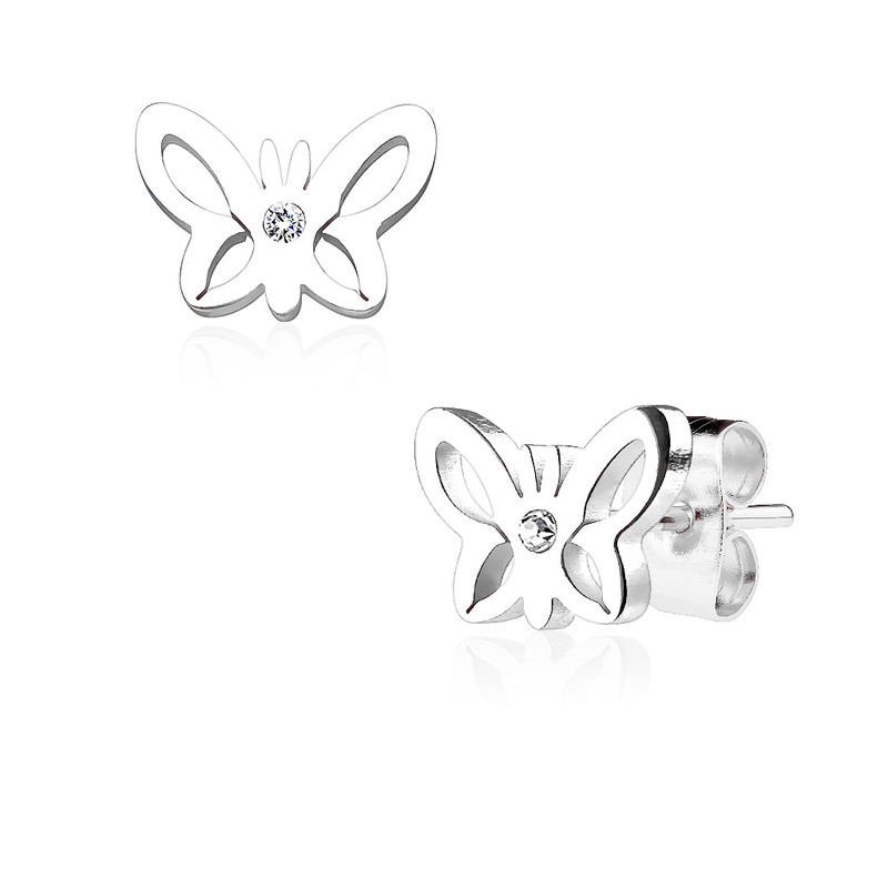 MJ-SE2514 Hollow Butterfly with Crystal Center 316L Stainless Steel Earring Studs Pair