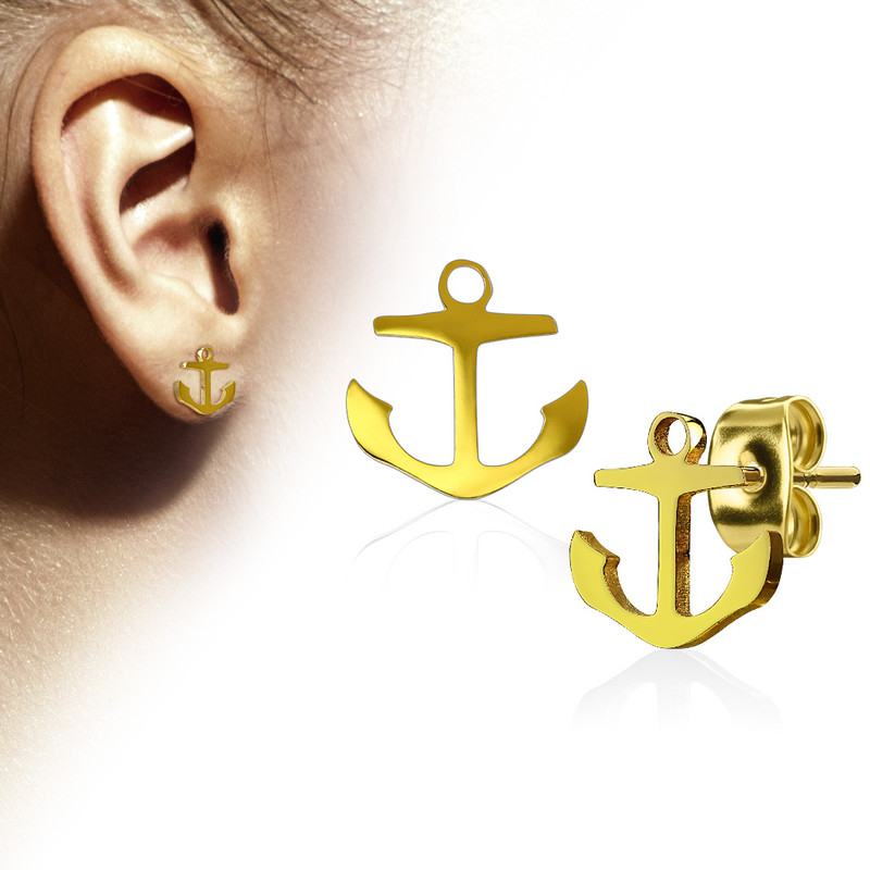 MJ-SE3293 Pair of Hand Polished Anchor 316L Stainless Steel Earring Studs