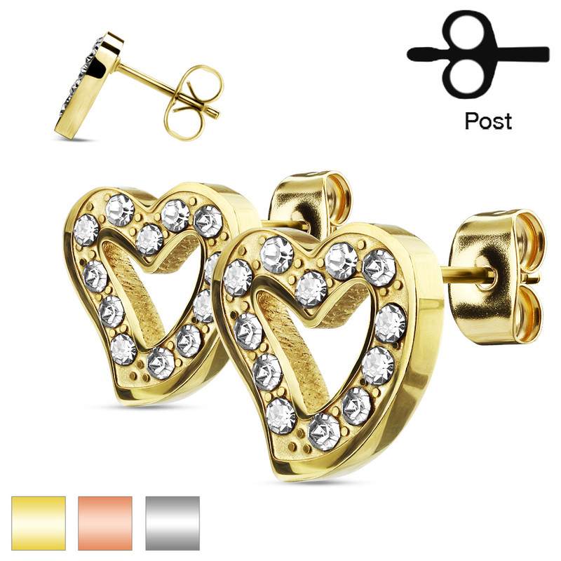 MJ-SE3041 Pair of CZ Paved Hollow Heart Stainless Steel Stud Earrings