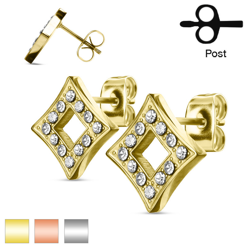 MJ-SE3046 Pair of CZ Paved Hollow Diamond Stainless Steel Stud Earrings