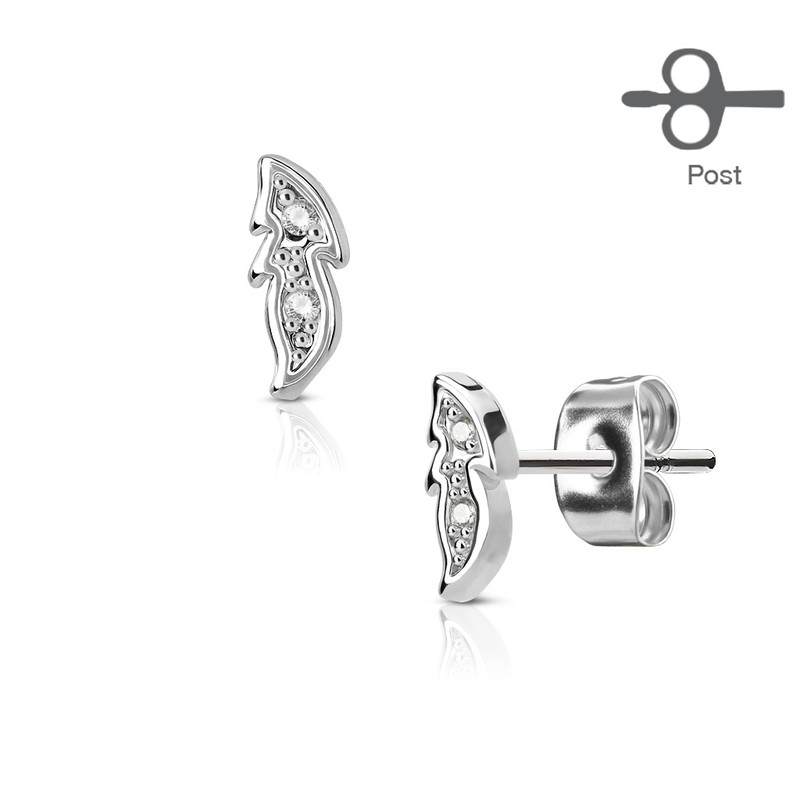 MJ-EA-003 Pair of CZ Paved Small Leaf 316L Surgical Steel Post Earring Studs