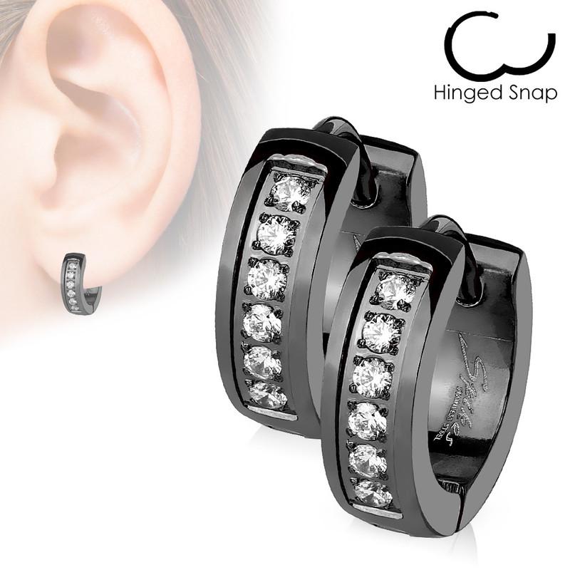 MJ-SE3305 Pair of CNC Set Lined CZ Stainless Steel Hoop/Huggie Earrings
