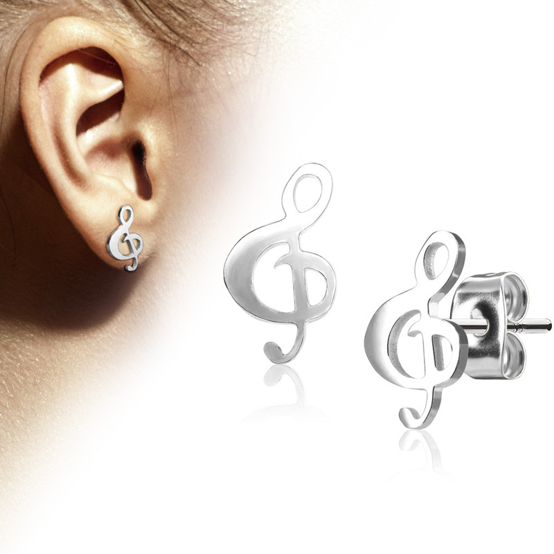 MJ-SE3302 Pair of Hand Polished Music Clef 316L Stainless Steel Earring Studs
