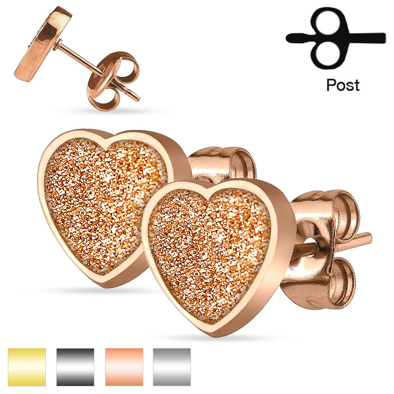 MJ-SEZHT Pair of 316L Stainless Steel Heart Sand Glitter Stud Earrings