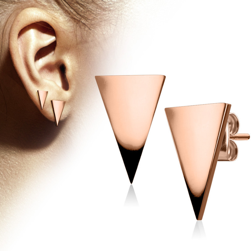 MJ-SE3292 Pair of Plain Hand Polished Triangle 316L Stainless Steel Earring Studs