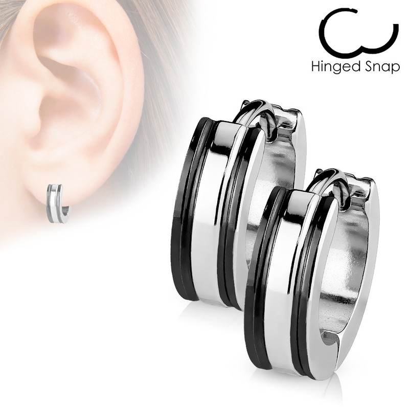 MJ-SSE-017 Pair of 316L Surgical Stainless Steel 2 Tone Hoop Earring with IP Edges