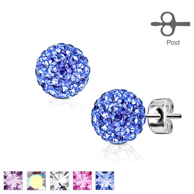 MJ-SE0106 Pair of 316L Surgical Steel Stud Earring with Multi Crystal Ferido Ball