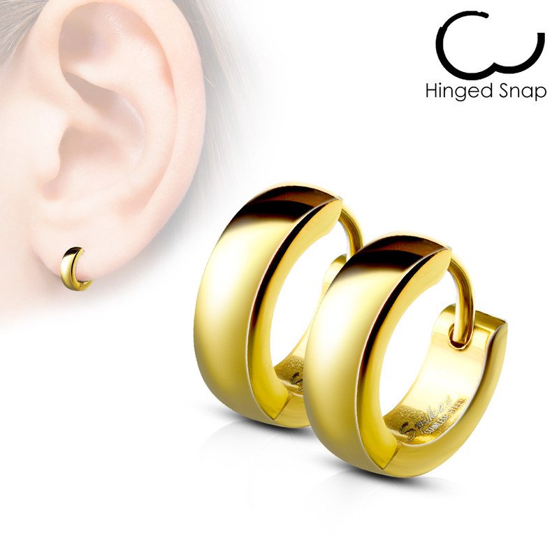MJ-SE2003 Pair of Classic Plain Dome Hoop/Huggie Stainless Steel Earrings