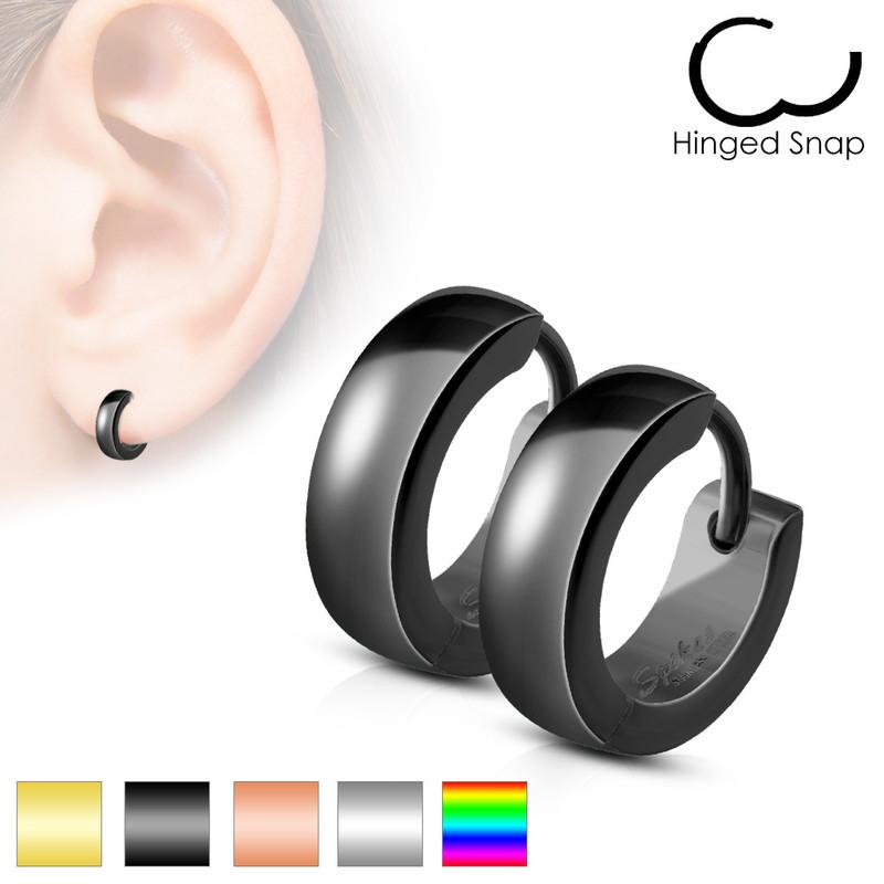 MJ-SE2003 Pair of Classic Plain Dome Hoop/Huggie Stainless Steel Earrings