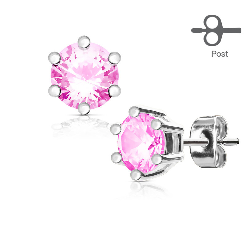 MJ-EA-001 Pair of 6 Prong Set CZ 316L Surgical Steel Post Ear Stud Rings