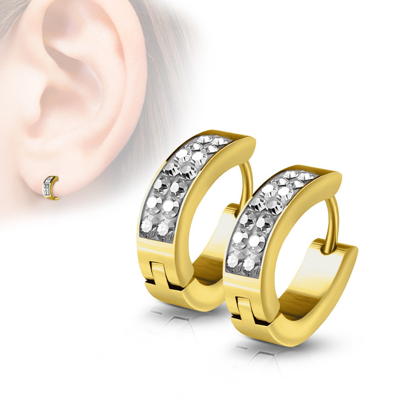 MJ-SE7067 Pair of Lined Set Crystals Front Oval Shape Stainless Steel Hoop/Huggie Earrings
