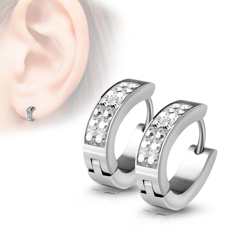 MJ-SE7067 Pair of Lined Set Crystals Front Oval Shape Stainless Steel Hoop/Huggie Earrings