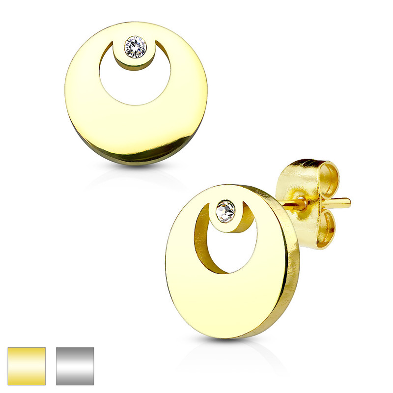MJ-SE2508 Round with Crystal 316L Stainless Steel Earring Studs Pair