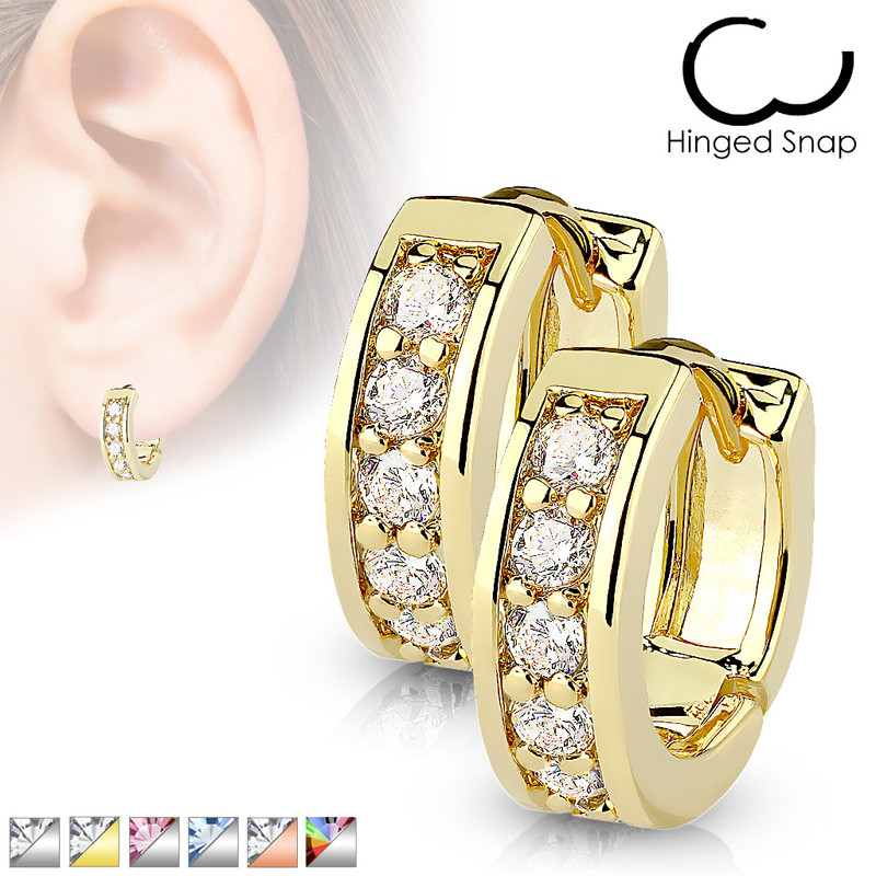 MJ-EB-005 Pair of Channel Set CZ Half Circle Hoop Earrings 316L Surgical Steel Post