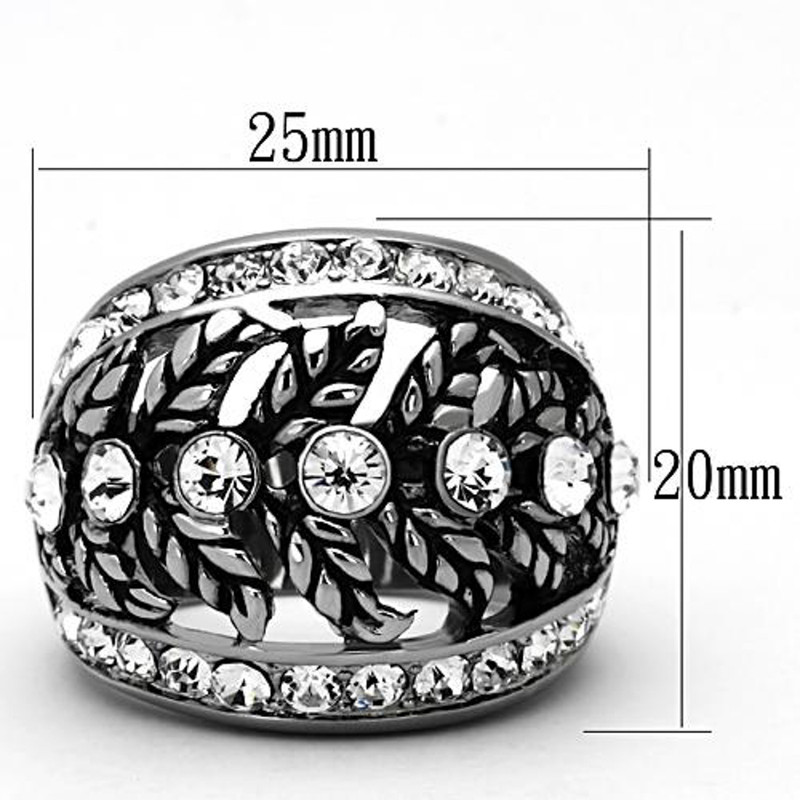 ARTK1015  Stainless Steel Stunning Women's Crystal Antique Dome Fashion Ring Size 5-10
