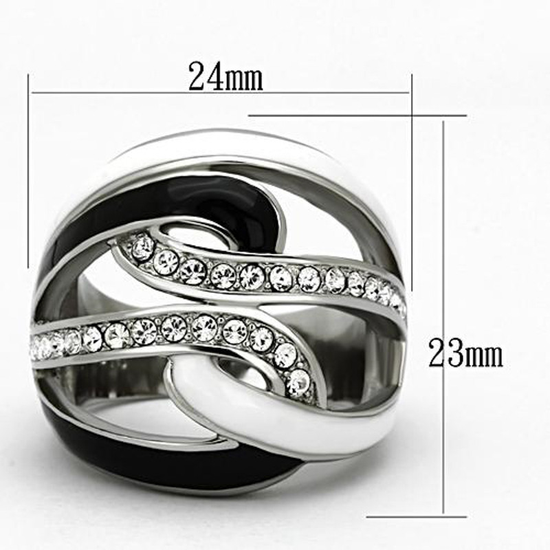 ARTK1018 Stainless Steel Women's Black & White Epoxy AAA Grade Crystal Ring Size 5-10