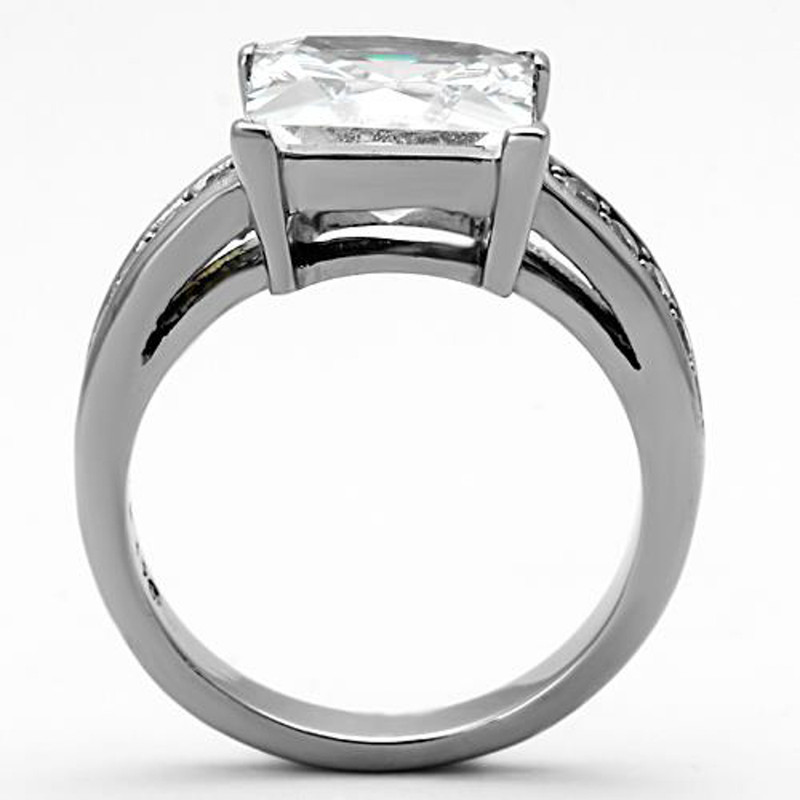 ARTK1081 Stainless Steel 5.95 Ct Princess Cut CZ Silver Engagement Ring Women's Size 5-10