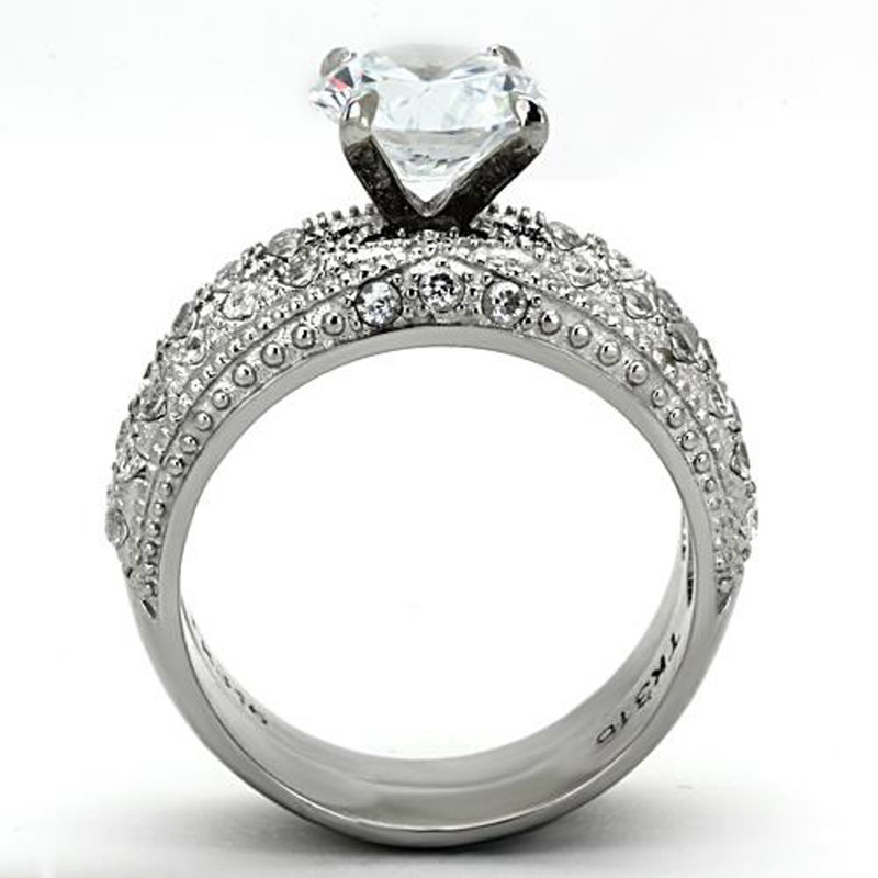 ARTK1228 Stainless Steel 3.25 Ct Round Cut CZ Vintage Wedding Ring Set Women's Size 5-10
