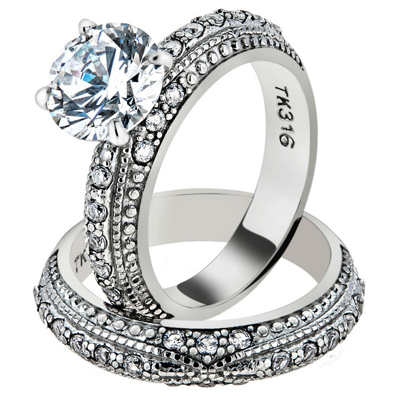 STAINLESS STEEL 3.25 CT ROUND CUT CZ VINTAGE WEDDING RING SET WOMEN'S SIZE 5-10
