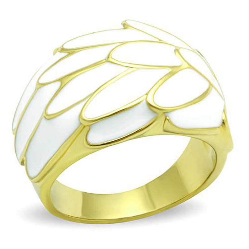 14K GOLD IP STAINLESS STEEL WHITE EPOXY FEATHER FASHION RING WOMEN'S SIZE 6-10