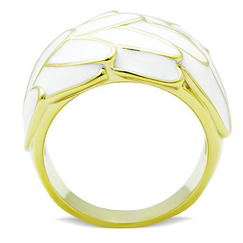 ARTK1387 Stainless Steel 14k Gold IP White Epoxy Feather Fashion Ring Women's Size 6-10