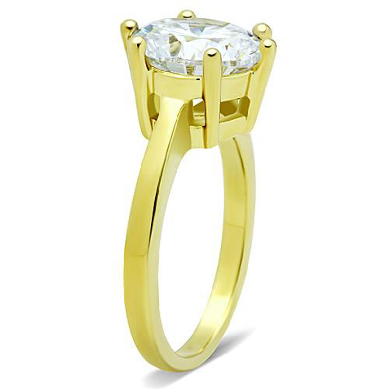 ARTK1407 Stainless Steel 3.5 Ct Round Cut CZ 14k Gold Ion Plated Engagement Ring Size 5-10