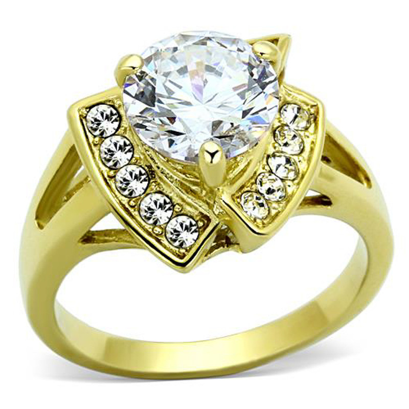 3.1 CT STUNNING ROUND CUT CZ STAINLESS STEEL 14K GP ENGAGEMENT RING SIZE 5-10