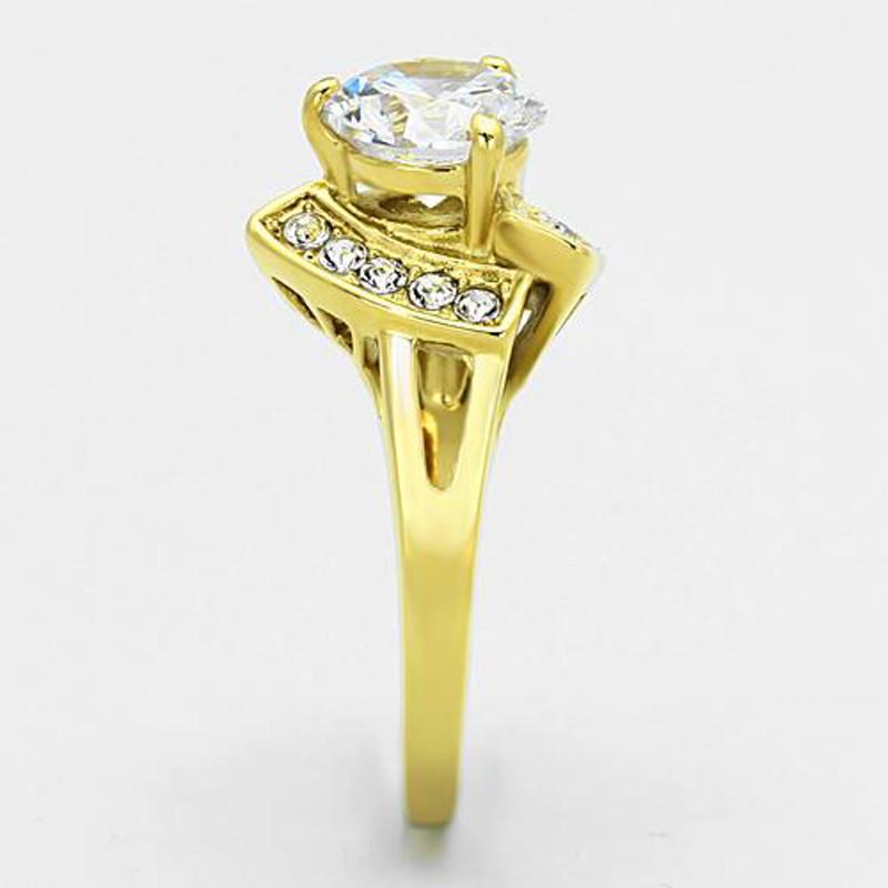 ARTK1412 Stainless Steel 3.1 Ct Stunning Round Cut CZ 14k GP Engagement Ring Size 5-10