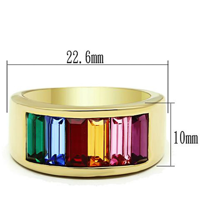 ARTK1415 Stainless Steel 14k Gold Ion Plated Baguette Rainbow Ring Women's Sizes 5-10