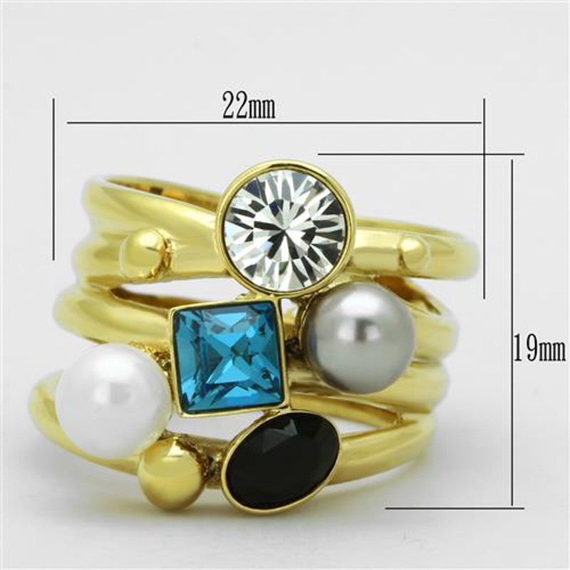 ARTK1440 Stainless Steel Women's 14k Gold Ion Plated Cocktail Fashion Ring Size 5-10