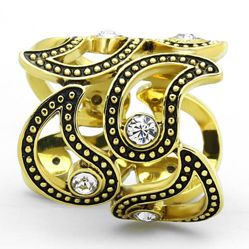 ARTK1506 Stainless Steel 14k Gold Ion Plated Crystal Cuff Fashion Ring Women's Size 5-10