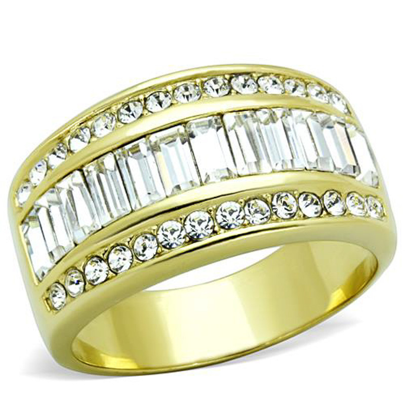 14K GOLD ION PLATED CRYSTAL BAGUETTE RING WOMEN'S SIZES 5-10