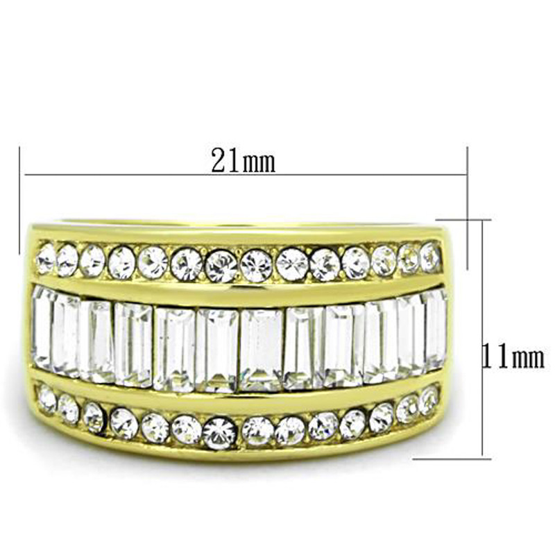 ARTK1561 Stainless Steel 14k Gold Ion Plated Crystal Baguette Ring Women's Sizes 5-10