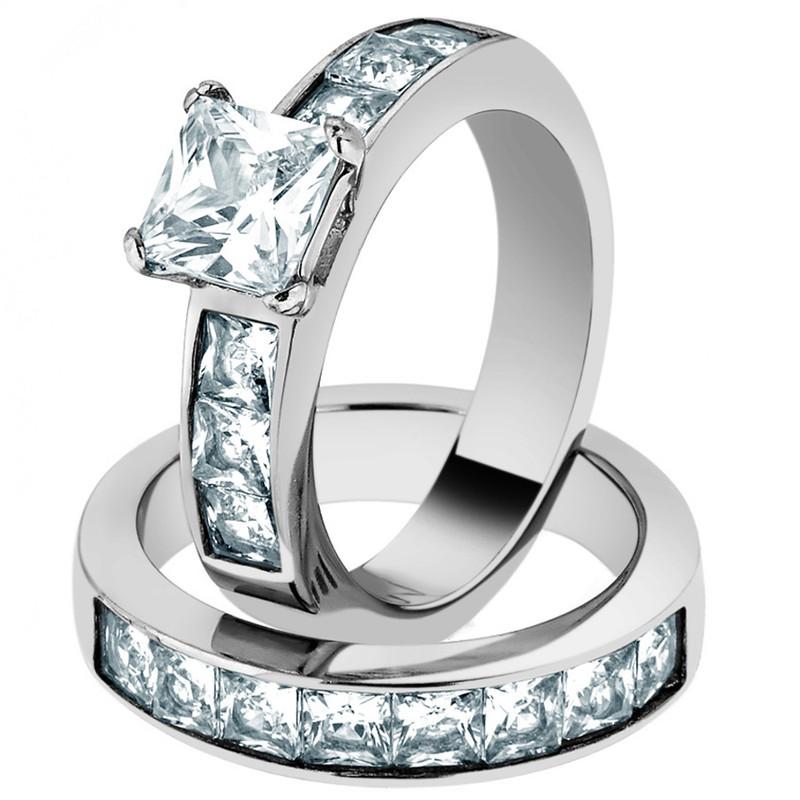 Wedding Ring Set 3.75 Ct Princess Cut AAA CZ Women's Size 5-11