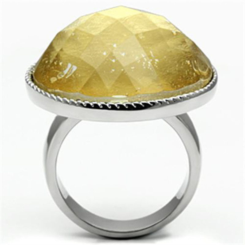ARTK638 Stainless Steel Round Cut 25mm Synthetic Topaz Stone Ring Women's Size 5-10