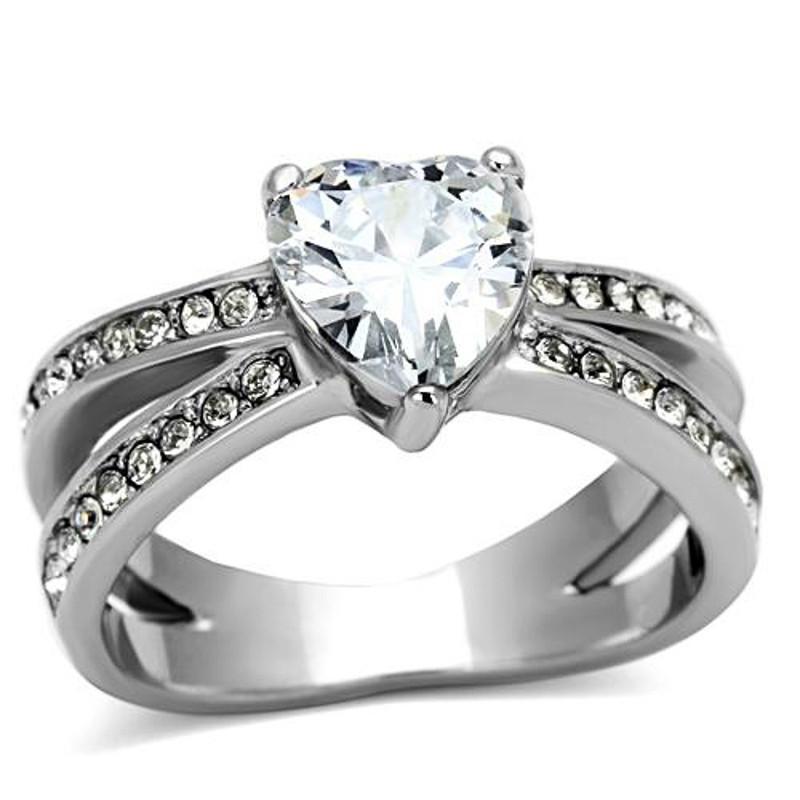 Stunning Heart Shape AAA CZ Engagement Wedding Ring Band Sz 5-10