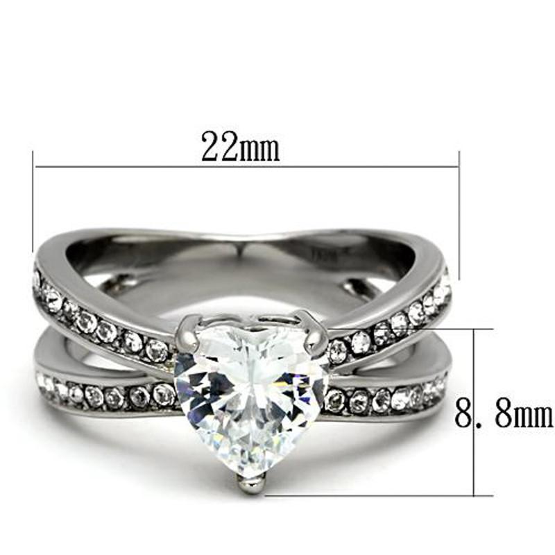 ARTK851 Stainless Steel Stunning Heart Shape AAA CZ Engagement Wedding Ring Band Sz 5-10