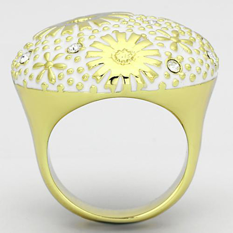 ARTK875 Stainless Steel 14k Gold Ion Plated Crystal & Epoxy Dome Ring Women's Size 5-10