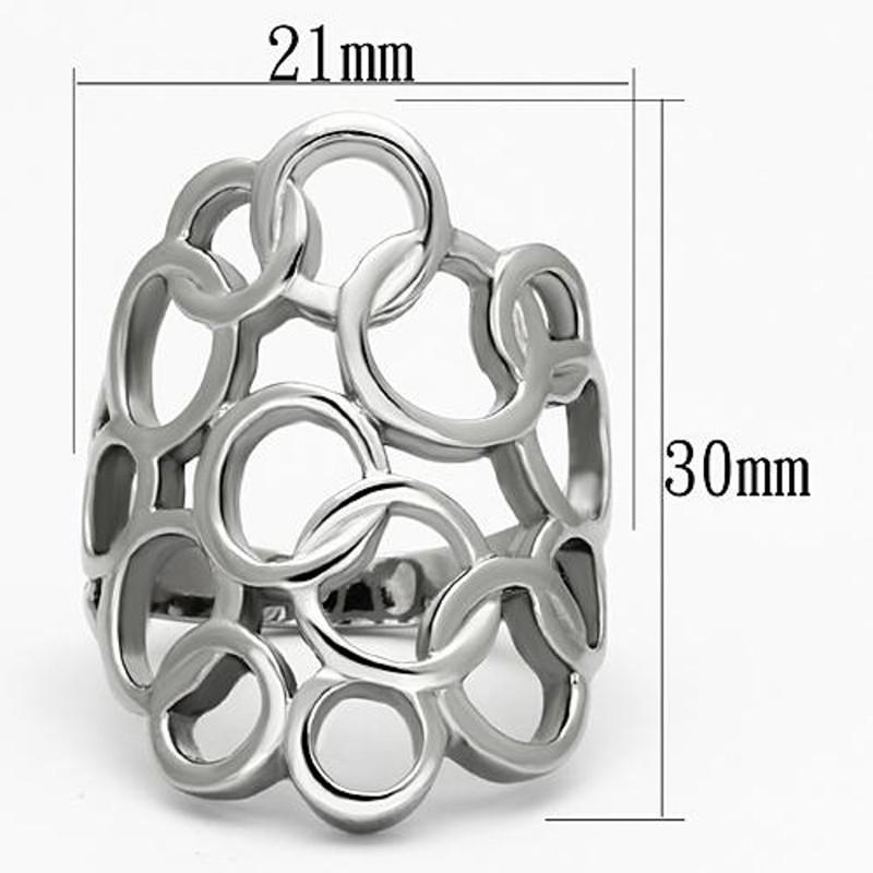 ARTK939 Stainless Steel High Polished Interlocking Circles Fashion Ring Women's Sz 5-10