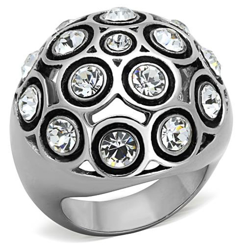 STAINLESS STEEL 316L 3.78 CT TOP GRADE CRYSTAL DOME FASHION RING SIZE 5-10