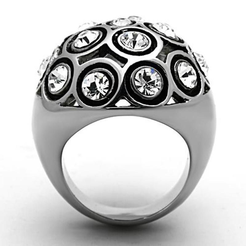 ARTK13250 Women's Stainless Steel 3.78 Ct Top Grade Crystal Dome Fashion Ring Size 5-10