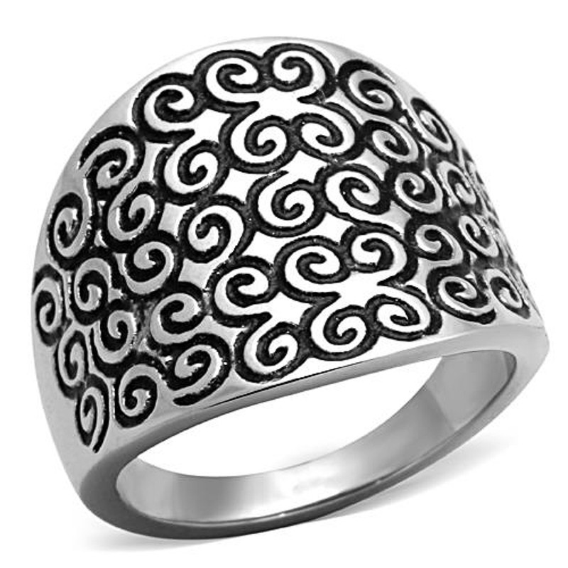 HIGH POLISHED SWIRL STAINLESS STEEL 316L EPOXY DESIGN FASHION RING