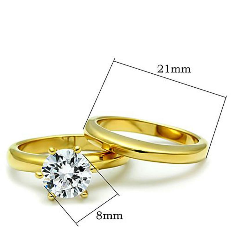 ARTK097G Stainless Steel Wedding Ring Set 2.05 Ct Round Cut CZ 14k GP Women's Size 5-10