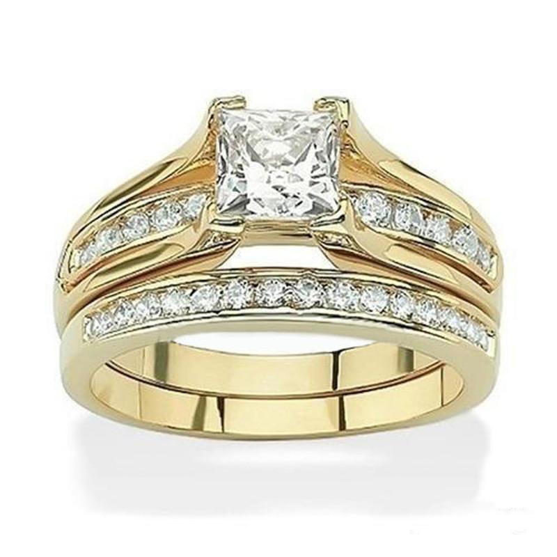 STAINLESS STEEL 316L 1.385CT PRINCESS CUT CZ 14K GP WEDDING RING SET WOMEN'S SZ 5-11