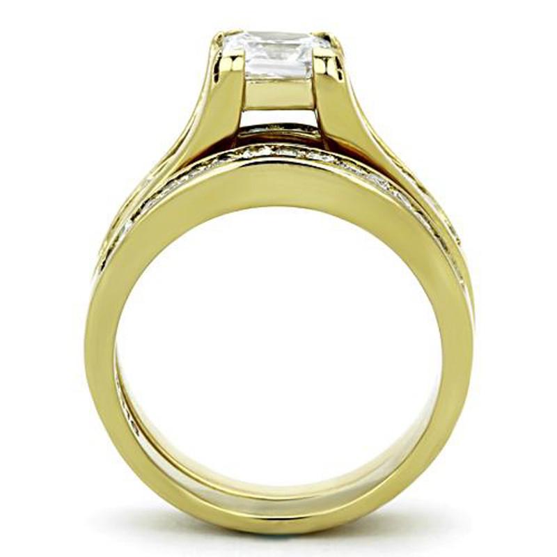 ARTK0W384 Stainless Steel 2.10 Ct Princess Cut CZ 14k Gp Wedding Ring Set Women's Sz 5-11
