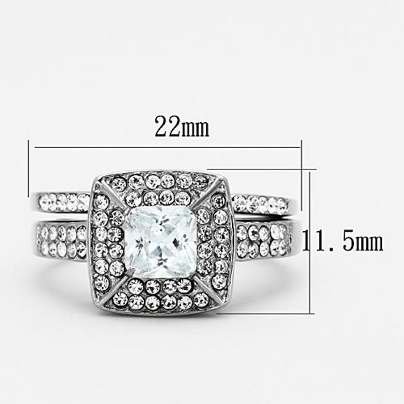 ARTK1088 Stainless Steel Wedding Ring Set 2.65 Ct Halo Princess Cut CZ Women's Size 5-10