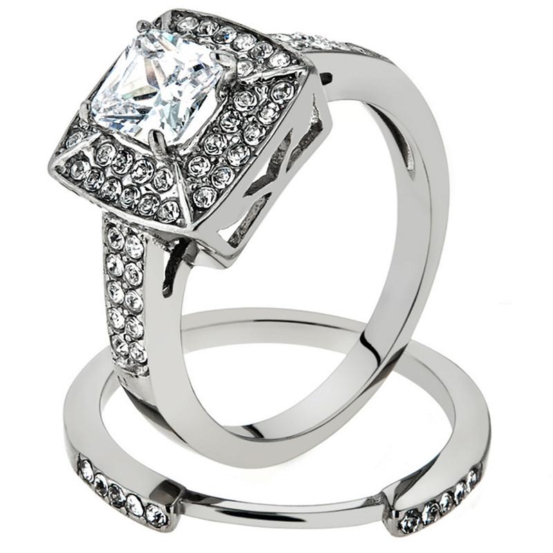 2.65 Ct Halo Princess Cut CZ Stainless Steel 316L Wedding Ring Set Women's Size 5-10