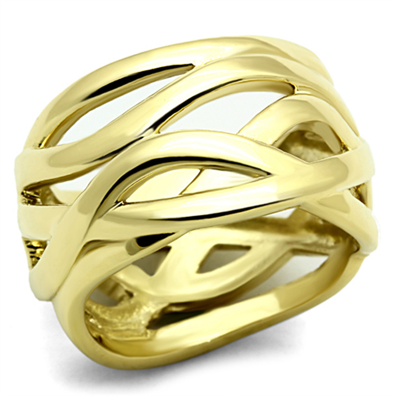 14K GOLD ION PLATED STAINLESS STEEL 316L FASHION RING 13mm WIDE, WOMEN'S SZ 5-10