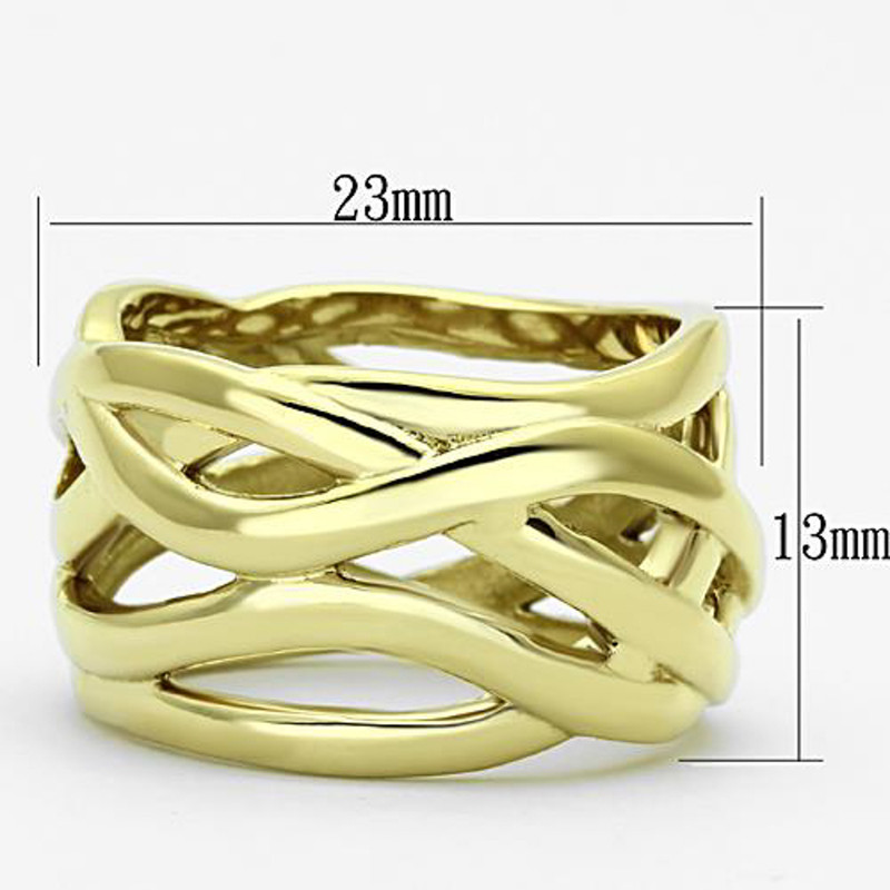 ARTK1107 Stainless Steel 316L 14k Gold Ion Plated Fashion Ring 13mm Wide, Women's Sz 5-10