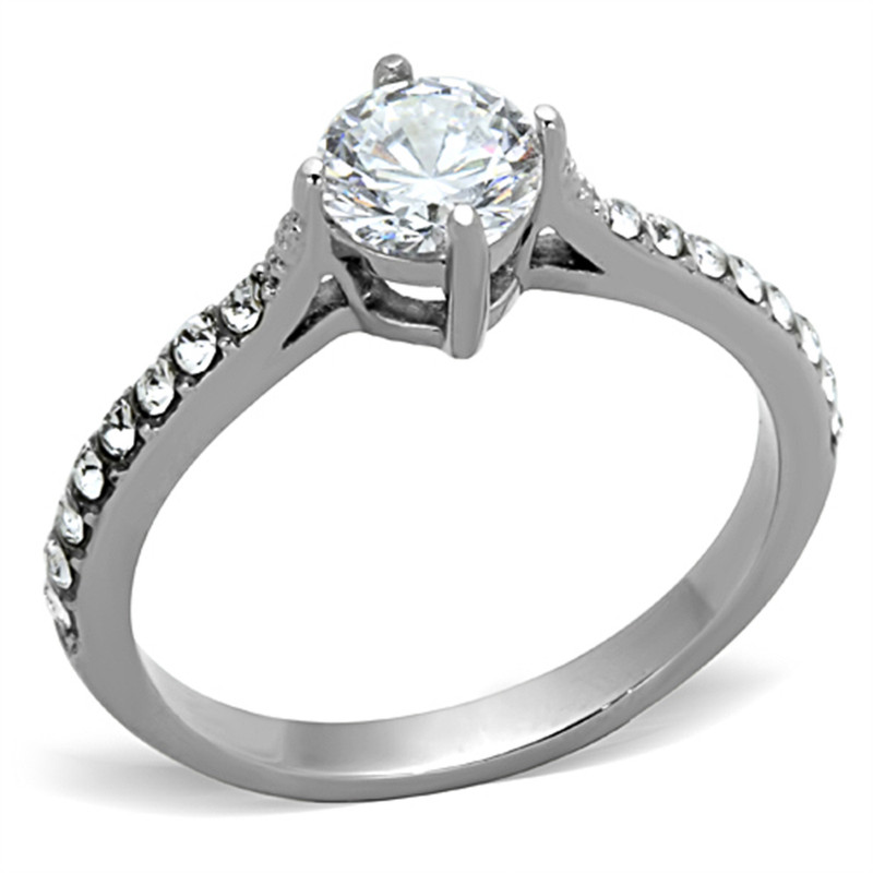 1CT CUBIC ZIRCONIA SILVER STAINLESS STEEL ENGAGEMENT WEDDING RING WOMENS SZ 5-10